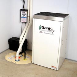 An ENERGY STAR® Rated basement dehumidifier installed in a home in Norwalk