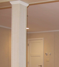 Easy Wrap column sleeves in Fairfield basement