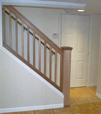 Finished Basement column wrap, crown molding, stairs in Florissant, Illinois & Missouri