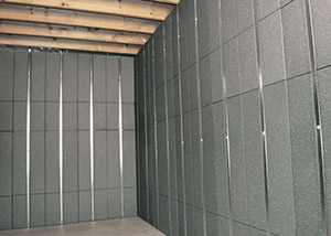 SilverGlo™ insulation and metal studs making up our Basement to Beautiful™ panels.  Installed in Fairfield.