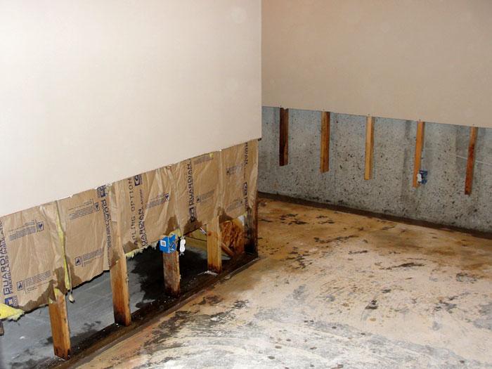 basement wall restoration wet drywall repair connecticut