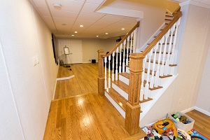 Finishing touches for a remodeled basement in West Hartford