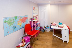 Children's playroom installed in a Norwalk basement