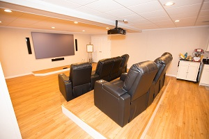 A basement turned into a home theater in Stamford