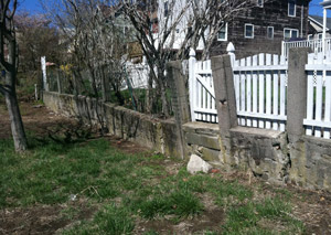 a retaining wall installed in West Hartford