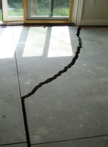severely cracked foundation slab floor in Clinton