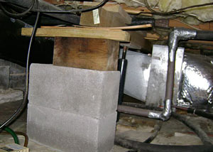 a poorly designed crawl space support system installed in a Southington home