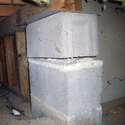 Collapsing crawl space support pillars New Milford