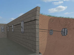 A graphic illustration of a foundation wall system installed in Guilford