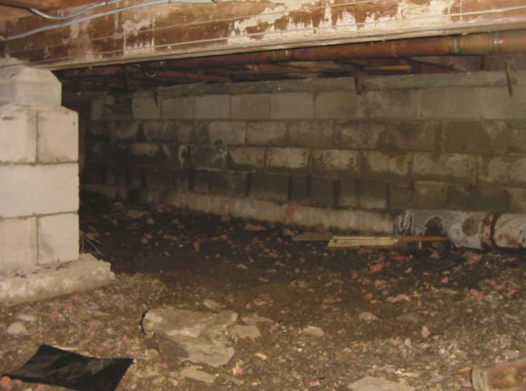 Rotting  decaying crawl space wood damaged over time in Willimantic. Crawl Space Mold   Rot in Yonkers  Stamford  Norwalk  CT and NY