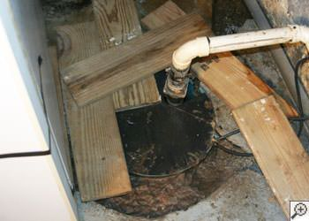 An ugly, clogged sump pump system in Milford, Connecticut