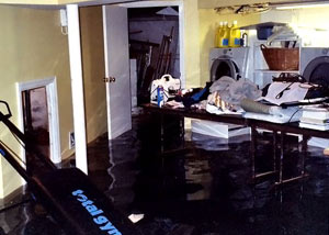A laundry room flood in Shelton, with several feet of water flooded in.