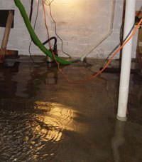 Several feet of floodwaters in a East Lyme basement