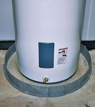 An old water heater in South Windsor, CT with flood protection installed