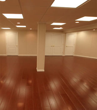Rosewood faux wood basement flooring for finished basements in Stamford