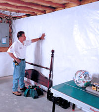 Plastic 20-mil vapor barrier for dirt basements, New Canaan, Connecticut installation