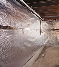 Radiant heat barrier and vapor barrier for finished basement walls in New Canaan, Connecticut